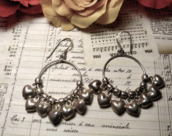 1980s Vintage Long Sterling Silver Puffed Puffy Heart Cluster Chandelier Circle Earrings Pierced Charms