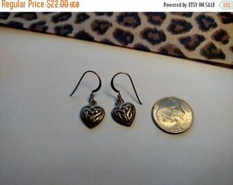 SALE TODAY Romance Vintage Sterling Silver 925 Celtic Irish Knot Heart Charm Earrings Pierced