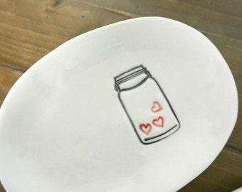 Three Hearts in a Mason Jar - Porcelain Dish
