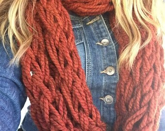 "Infinity Scarf,  Extra Long, Chunky, Hand Knit, Arm Knitting - ""Rust"""