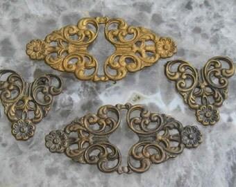 Very versatile vintage brass filigrees with flat backs..
