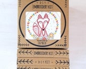 CRAFTY FOX embroidery kit - diy gift kit, cute sly fox face, embroidery pattern, DIY gift for crafters, fox hand embroidery kit