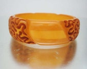 Rare Bakelite Butterscotch Toffee Squiggle & Striped Bangle Bracelet