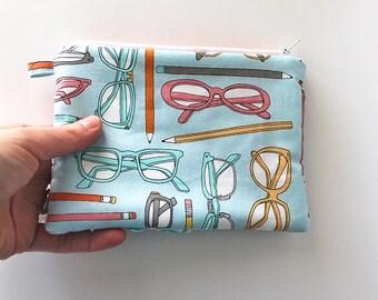 SALE spectacle glasses Zipper purse. Sunglasses Ruffles bag. padded wallet. blue aqua, orange, gray,pink, mustard yellow, -Ready to ship