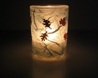 Leaf Dance Earth Light - candle, candle holder, botanical home décor, real leaves, handmade paper, natural, Autumn candle, Fall candle, ooak