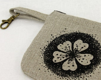 Coin purse, clip on purse, cherry blossom purse, screenprinted, linen zipper bag, flower design, pollination design, travel purse