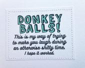 MATURE sympathy get well card. Donkey balls.