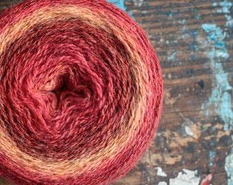 Pure wool knitting yarn - 88 g -- purple, mustard, lilac