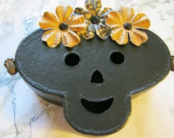 Paper Mache Frida Skull Jewelry Box