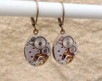 Vintage Watch Movement Oval Earrings