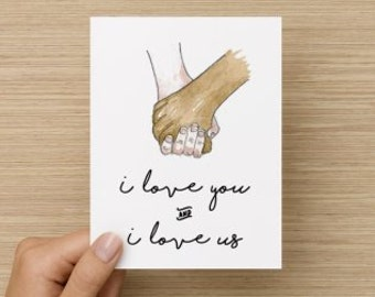 I Love You and I Love Us Interracial Recycled Valentine's Day or Anniversary Folded Greeting Card