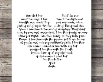 """VALENTINE How do I love thee? Let me count the ways"""" Elizabeth Barrett Browning poem - love poetry wall art printable typography calligraphy"""