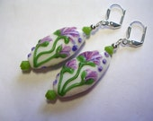 Purple Earrings Lampwork Green Earrings Lilac Flowers Crystal Leverback Wire Wrapped Dangle Lavender Light Purple Green and White Ovals