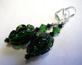 Forest Green Earrings Ruffled Lampwork and Swarovski Crystals in Silver Handmade Leverback Hooks Wire Wrapped Moss Green and Black Dangle