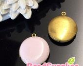 CH-EX-08146PP-   Nickel-free, Color epoxy,  Round locket (S),pale pink, 2 pcs