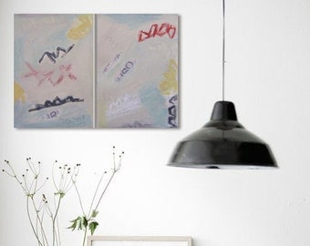 """DIPTYCH """"XO"""" Original Painting  #1390/91 Abstract  Modern Contemporary Art Two Part Paintings """"XO"""""""