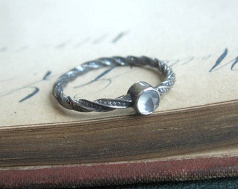 SALE Rose Cut Chacedony Gemstone Twist Ring in Oxidized Sterling Silver Ready to Ship US size 7.5