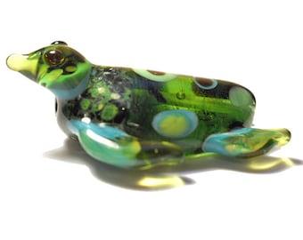 Green Sea Turtle necklace, organic Lamp Work Glass Bead turtle pendant, ready to wear jewelry, Isinglass Design, glassbead, SRAJD