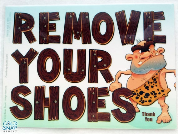 Etsy Caveman Signs : Remove your shoes sign cute cave man wood letters take off