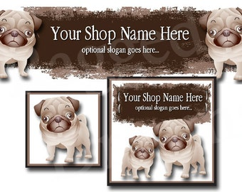 Premade Etsy Cover Photo - Large Etsy Banner - Premade Etsy Shop Banner - SHOP ICON - Shop Profile - Cute Puppy Dogs Clip Art - Pugs - Pets