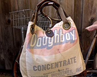 Doughboy Concentrate - New Richmond, Wisconsin - Open Tote - Americana OOAK Canvas & Leather Tote W- vtg fabric... Selina Vaughan Studios