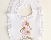 Little Star 1st Birthday Ruffle Bib- Pink & Gold- Personalized Baby Girl