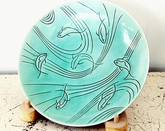 Pasadena Pottery Roselane Turquoise Bowl, Pasadena Pottery Baby Blue Serving Bowl, Vintage Centerpiece, MCM Pottery, California Pottery