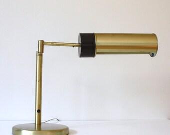 Vintage Mid Century Modern Nessen Executive Brass Desk Lamp
