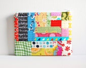 Quilted Patchwork Zipper Pouch, Gadget Bag, Cosmetic Case, Makeup Bag, Women and Teens