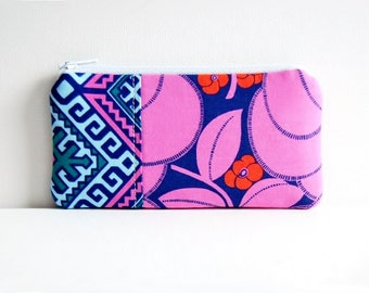Zipper Pouch, Coin Purse, Zip Wallet, Heart Bloom in Rose, Amy Butler Hapi