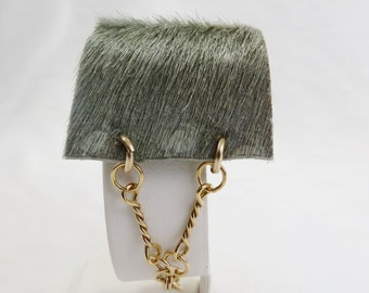 Pearl Grey Ostrich Hair-On Cowhide Leather and Gold-Filled Chain Cuff Bracelet - Christian Jewelry - Stripes Collection