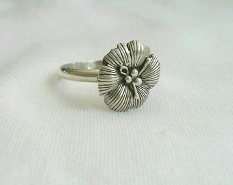 Flower Ring  Sterling Silver  Ring Hibiscus Flower Silver  Ring