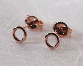 14k Rose Gold Stud Earrings 5mm Halo Tiny Rose Gold Circle Studs Minimal Jewelry by SARANTOS