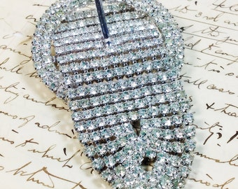 Recycled new old stock rhinestone buckle pin brooch