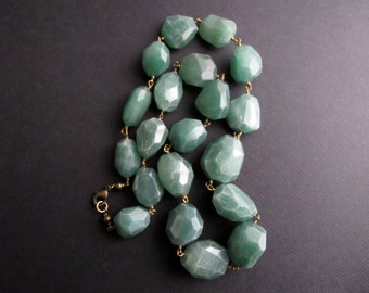 Tranquil. Green Aventurine Necklace, Wire Wrapped Gemstone Brass Jewelry,