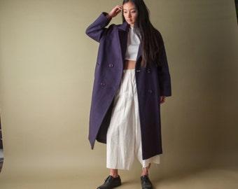 purple pure wool coat / oversized double breasted coat / vtg 80s coat / 1065 / s / 1065o