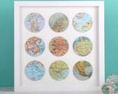 Nine personalised vintage map circle