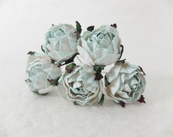 5 30mm white mint green mulberry paper ranunculus - mint paper flowers with wire stems
