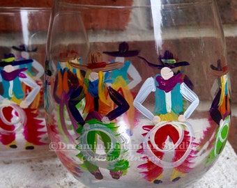 Hand Painted Stemware Wine Glasses Western Cowboys Cowgirls Cowtown Pilsners Shots Wines Balloon Dinner Martini
