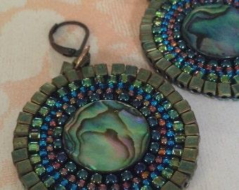 Beaded Earrings - Abalone Shell Seed Bead Disc Earrings - Handmade Beadwork Jewelry