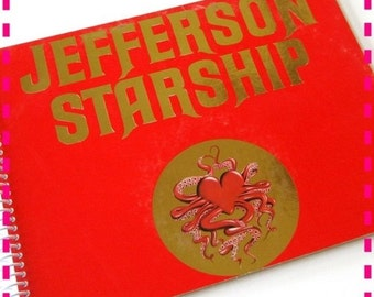 SALE 40% OFF--- JEFFERSON Starship - Red Octopus Recycled Notebook / Upcycled Retro Record Album Cover Journal - Red and Gold - Vintage Circ