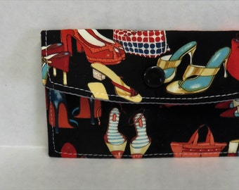 Mini Wallet - Gift Card Holder - Debit Credit Card Case -  Business Card Case  - Snap Closure - Bags and Shoes Fabric
