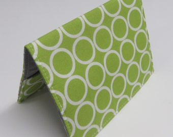 Passport Cover Case Holder Vacation Cruise Travel Holiday - Travel - White Circles on Lime Green