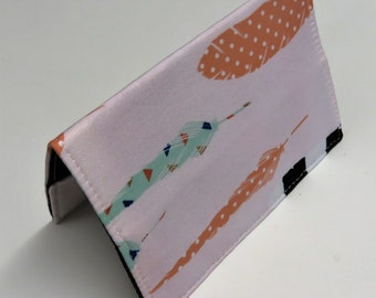 SAMPLE SALE - Ready to Ship - Passport Holder Cover Case Travel Cruise Vacation Holiday - Feathers on Light Pink Fabric - Aztec - Tribal