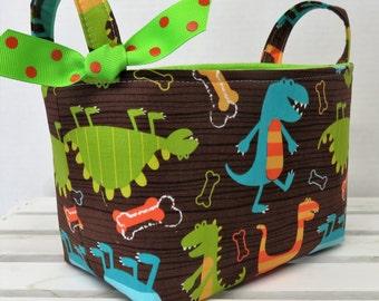 Storage and Organization  - Dino Dudes - Dinosaurs - Fabric Organizer Bin Storage Container Basket