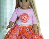 """American girl 18"""" doll clothes, doll pink t-shirt, doll twirl skirt, orange corduroy skirt, doll outfit, applique shirt, pleated skirt 2pc"""
