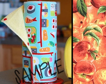 Unpaper Towels | Reusable Paper Towels - Peaches (0339602) Tree Saver Towel | Kitchen Towel | Snapping Cloth Paperless Towel & Wet Bag