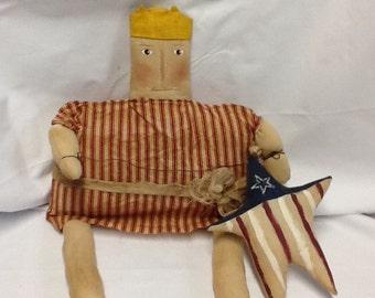 Primitive Doll, Americana,  Lady Liberty