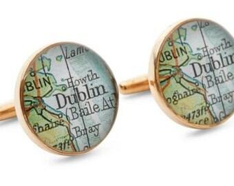 Dublin Cufflinks  Bronze Antique Ireland Map Vintage Globe Cuff Links Gift for Him