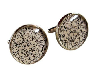 Wall Street Cufflinks Sterling Silver Stock Exchange Antique Map Destination: New York Stockbroker, Dad or the Groom  Free Shipping